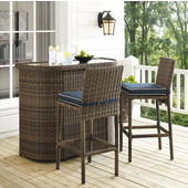 Bradenton 3-Piece Outdoor Wicker Bar Set, with Bar & Two Stools with Navy Cushions