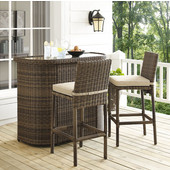 Bradenton 3-Piece Outdoor Wicker Bar Set, with Bar & Two Stools with Sand Cushions