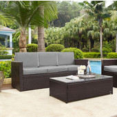 Palm Harbor Collection Outdoor Wicker Sofa With Grey Cushions, Brown Finish