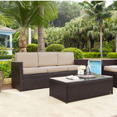 Palm Harbor Collection Outdoor Wicker Sofa With Sand Cushions, Brown Finish
