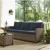 Bradenton Sofa with Navy Cushions, 81''W x 32-1/2''D x 33''H, Navy Finish