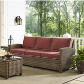 Bradenton Sofa with Sangria Cushions, 81''W x 32-1/2''D x 33''H, Sangria Finish