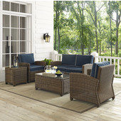 Bradenton 5-Piece Outdoor Wicker Conversation Set with Navy Cushions - Loveseat, Two Arm Chairs, Side Table & Glass Top Table, , Navy Finish