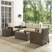 Bradenton 5-Piece Outdoor Wicker Conversation Set with Sand Cushions - Loveseat, Two Arm Chairs, Side Table & Glass Top Table, , Sand Finish