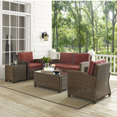 Bradenton 5-Piece Outdoor Wicker Conversation Set with Sangria Cushions - Loveseat, Two Arm Chairs, Side Table & Glass Top Table, , Sangria Finish