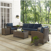 Bradenton 5-Piece Outdoor Wicker Sofa Conversation Set, with Navy Cushions with Sofa, Two Arm Chairs, Side Table & Glass Top Table