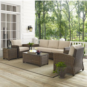 Bradenton 5-Piece Outdoor Wicker Sofa Conversation Set, with Sand Cushions with Sofa, Two Arm Chairs, Side Table & Glass Top Table