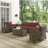 Bradenton 5-Piece Outdoor Wicker Sofa Conversation Set, with Sangria Cushions with Sofa, Two Arm Chairs, Side Table & Glass Top Table
