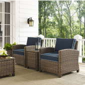 Bradenton 3-Piece Outdoor Wicker Conversation Set with Navy Cushions - Two Arm Chairs & Side Table, Navy Finish
