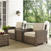 Bradenton 3-Piece Outdoor Wicker Conversation Set with Sand Cushions - Two Arm Chairs & Side Table, Sand Finish