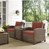 Bradenton 3-Piece Outdoor Wicker Conversation Set with Sangria Cushions - Two Arm Chairs & Side Table, Sangria Finish