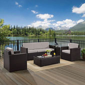 Palm Harbor 5-Piece Outdoor Wicker Sofa Conversation Set with Grey Cushions - Sofa, Two Arm Chairs, Side Table & Glass Top Table