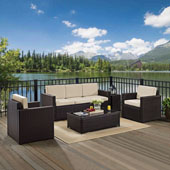 Palm Harbor 5-Piece Outdoor Wicker Sofa Conversation Set with Sand Cushions - Sofa, Two Arm Chairs, Side Table & Glass Top Table