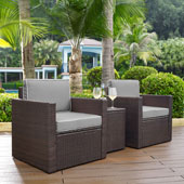 Palm Harbor 3-Piece Outdoor Wicker Conversation Set with Grey Cushions - Two Arm Chairs & Side Table