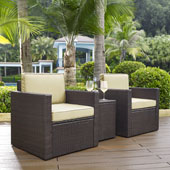 Palm Harbor 3-Piece Outdoor Wicker Conversation Set with Sand Cushions - Two Arm Chairs & Side Table