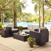 Palm Harbor 5-Piece Outdoor Wicker Conversation Set with Sand Cushions - Loveseat, Two Swivel Chairs, Side Table & Glass Top Table