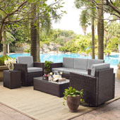 Palm Harbor 5-Piece Outdoor Wicker Sofa Conversation Set with Grey Cushions - Sofa, Two Swivel Chairs, Side Table & Glass Top Table