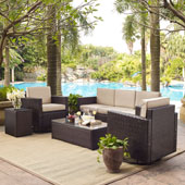Palm Harbor 5-Piece Outdoor Wicker Sofa Conversation Set with Sand Cushions - Sofa, Two Swivel Chairs, Side Table & Glass Top Table