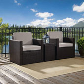Palm Harbor 3-Piece Outdoor Wicker Conversation Set with Grey Cushions -- Two Swivel Chairs & Side Table