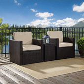 Palm Harbor 3-Piece Outdoor Wicker Conversation Set with Sand Cushions -- Two Swivel Chairs & Side Table