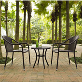 Palm Harbor 3-Piece Outdoor Wicker Café Seating Set, Brown Finish, with 2 Stacking Chairs and Round Side Table
