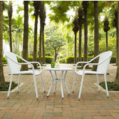 Palm Harbor 3-Piece Outdoor Wicker Caf� Seating Set, White Finish, with 2 Stacking Chairs and Round Side Table