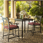 Portofino 3-Piece Bar Height Bistro Set, with 2 Bar Stools with Sangria Cushions, and Bar Height Table, Cast Aluminum