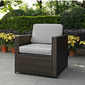 Palm Harbor Collection Outdoor Wicker Arm Chair With Grey Cushions, Brown Finish