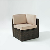 Palm Harbor Collection Outdoor Wicker Corner Chair With Sand Cushions, 26-3/4'W x 26-3/4'D x 25-1/2'H, Brown Finish