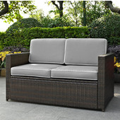 Palm Harbor Collection Outdoor Wicker Loveseat With Grey Cushions, Brown Finish