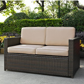 Palm Harbor Collection Outdoor Wicker Loveseat With Sand Cushions, Brown Finish