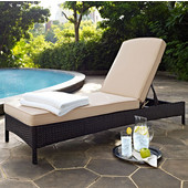 Palm Harbor Collection Outdoor Wicker Chaise Lounge With Sand Cushions, Brown Finish, 76''W x 32.7''H