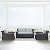 Beaufort 3 pc Outdoor Wicker Seating Set with Mist Cushion - Loveseat, Two Outdoor Chairs