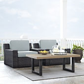 Beaufort 3 pc Outdoor Wicker Seating Set with Mist Cushion - Two Outdoor Wicker Chairs, Coffee Table