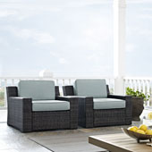 Beaufort 2 pc Outdoor Wicker Seating Set with Mist Cushion -  Two Outdoor Wicker Chairs