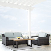 Beaufort 3 pc Outdoor Wicker Seating Set with Mist Cushion - Loveseat, Chair , Coffee Table