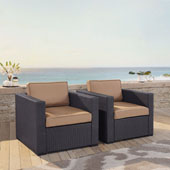 Biscayne 2 Person Outdoor Wicker Seating Set in Mocha - Two Outdoor Wicker Chairs