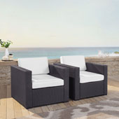 Biscayne 2 Person Outdoor Wicker Seating Set in White - Two Outdoor Wicker Chairs