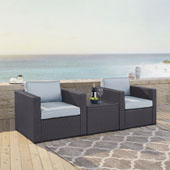 Biscayne 2 Person Outdoor Wicker Seating Set in Mist - Two Outdoor Wicker Chairs & Coffee Table