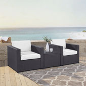 Biscayne 2 Person Outdoor Wicker Seating Set in White - Two Outdoor Wicker Chairs & Coffee Table