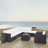 Biscayne 7 Person Outdoor Wicker Seating Set in White - Two Loveseats, One Armless Chair, One Arm Chair, Coffee Table, Ottoman