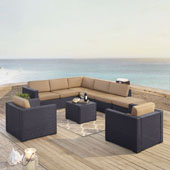 Biscayne 8 Person Outdoor Wicker Seating Set in Mocha - Two Loveseats, Two Arm Chairs, One Armless Chair, Coffee Table, Ottoman
