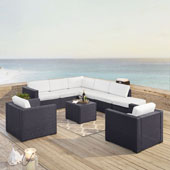 Biscayne 8 Person Outdoor Wicker Seating Set in White - Two Loveseats, Two Arm Chairs, One Armless Chair, Coffee Table, Ottoman