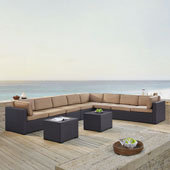Biscayne 8 Person Outdoor Wicker Seating Set in Mocha - Three Loveseats, Two Armless Chair, Two Coffee Table