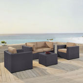 Biscayne 4 Person Outdoor Wicker Seating Set in Mocha - Two Armchairs, Two Corner Chair, Coffee Table