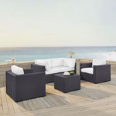 Biscayne 4 Person Outdoor Wicker Seating Set in White - Two Armchairs, Two Corner Chair, Coffee Table