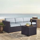Biscayne 3 Person Outdoor Wicker Seating Set in Mist - One Loveseat, One Corner & Coffee Table