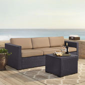 Biscayne 3 Person Outdoor Wicker Seating Set in Mocha - One Loveseat, One Corner & Coffee Table