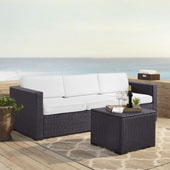Biscayne 3 Person Outdoor Wicker Seating Set in White - One Loveseat, One Corner & Coffee Table