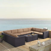 Biscayne 9 Person Outdoor Wicker Seating Set in Mocha - Four Loveseats, One Armless Chair, Two Coffee Tables